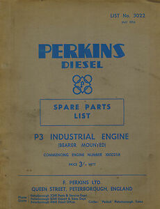 Perkins P3 Industrial Diesel Engine Spare Parts Manual 1956 3022