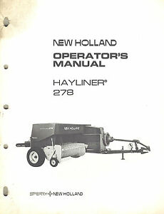 New Holland 278 Hayliner Balers Operator s Manual