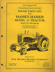 Massey harris Vintage 33 Tractor Parts Manual original 690 152 M2