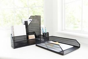 Blu Monaco 5 Piece Black Desk Organizer Set