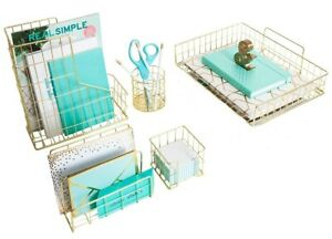 Blu Monaco 4 Piece Gold Desk Organizer Set