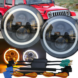 Pair 7 Inch Halo Angel Eyes Led Projector Headlights For 97 16 Jeep Wrangler