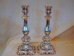Pair Old German 13 Loth 812 Silver 13 Inch Candlestick Holders 21 Toz 655 G