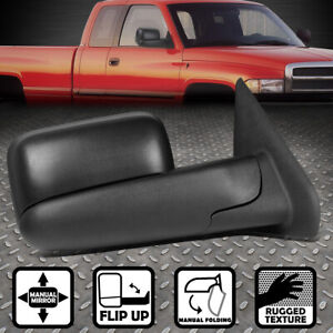 For 02 09 Dodge Ram Truck Right Side Manual Adjustment Flip Up Tow Towing Mirror