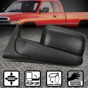 For 94 02 Dodge Ram Truck Left Side Manual Adjustment Flip Up Tow Towing Mirror