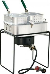 Double Fish Cooker Camping Tailgateing Cookout Party Fish Fry Eating Drinking