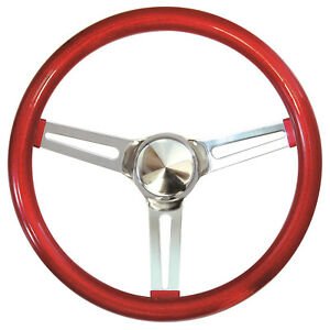 15 Mooneyes California 3 Spoke Slot Steering Wheel Red Metal Flake Gs270cmrd