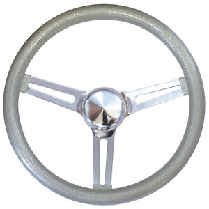 15 Mooneyes California 3 Spoke Slot Steering Wheel Silver Metal Flake Gs270cmsl