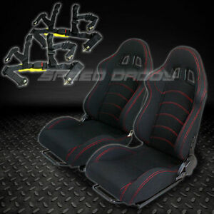 2 X Universal Type f1 Black Woven Racing Seats slider 4 point Harness Seat Belts