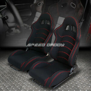 1 Pair Universal Light Fully Reclinable Racing Woven Seats Slider Type F1 Black