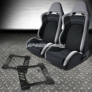 Pair Type R Gray Black Cloth Sport Racing Seat Bracket For 97 06 Wrangler Tj