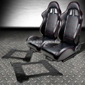 2 Pvc Leather Red Stitches Racing Seats bracket For 99 05 Bmw E46 3 series m3