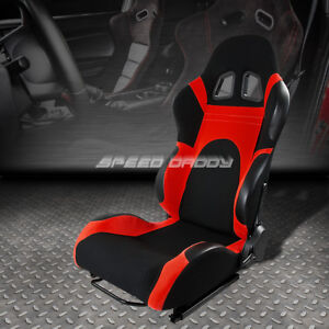 Fully Reclinable Red black Cloth Bucket Racing Seat slider Rail Driver Left Side