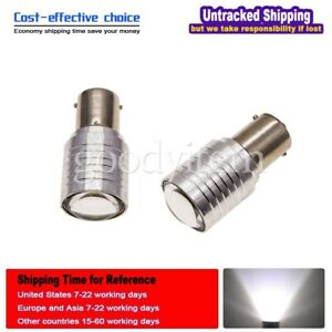 2 White 1156 Ba15s High Power Projector Lens Led Reverse Backup Light Tail Bulb