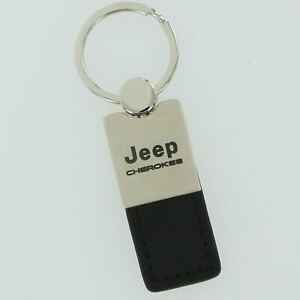 Jeep Cherokee Black Leather Key Ring