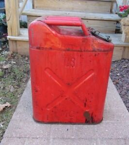 Vintage Us Mc Military Red Metal Gasoline Jerry Can 5 Gallon Us a