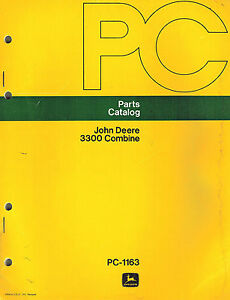 John Deere Vintage 3300 Combine Parts Manual Pc 1163 Jd
