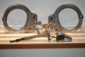 Vintage Smith And Wesson Handcuffs M 100 With Keys And Whistle Security Safety