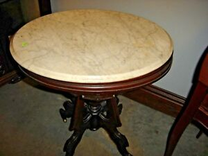 Antique Victorian Oval Walnut Marble Top Stand Table Turtle Top 8354