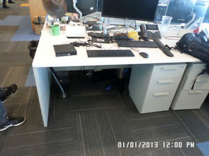 Used Office Cubicles Teknion Benching Stations 5x2 5