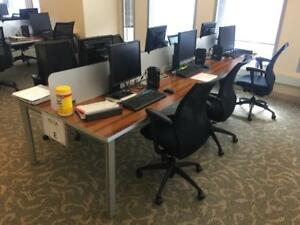 Used Office Cubicles Benching Stations 4x2