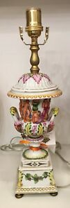 Rare Antique Capodimonte Urn Form Porcelain Lamp W Nudes