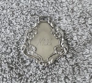 Vintage Sterling Sterling Silver Luggage Tag With Strap
