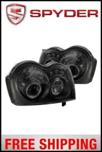 Spyder Jeep Grand Cherokee 05 07 Projector Headlights Led Halo Led Blk Smke