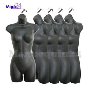 5 Black Mannequin Female Torsos Women s Plastic Hanging Dress Forms