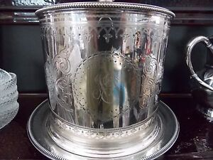 Elkington Co Silverplate Fancy Round Etched Ice Bucket Box Canister