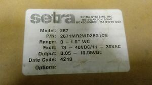 Setra 267 267mr Differential Pressure Transducer