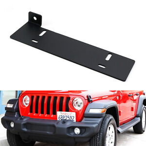 No Drill Front Bumper License Plate Bracket Relocator For 18 up Jeep Wrangler Jl