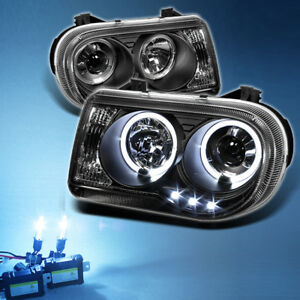 8000k Slim Xenon Hid Black 05 10 Chrysler 300c Dual Halo Projector Headlights