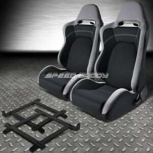 2x Type r Gray Black Cloth Racing Seat low mount Bracket For 99 04 Ford Mustang