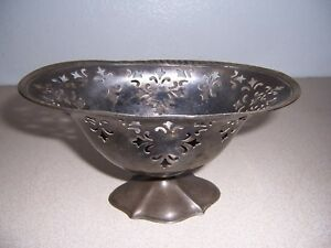 Antique Homans Silverplate Special Metal Pierced Candy Dish