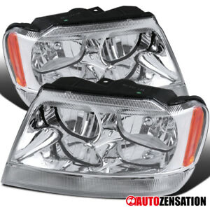1999 2004 Jeep Grand Cherokee Pair Clear Lens Headlights Turn Signal Lamps