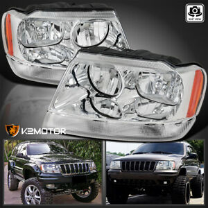 1999 2004 Jeep Grand Cherokee Crystal Clear Replacement Headlights Left right