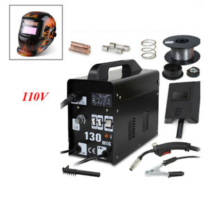 Mig 130 Welder Gas Less Flux Core Wire Automatic Feed Welding Machine Helmet Set