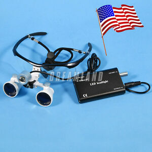 Dental Surgical 3 5x Binocular Magnifier Glasses Loupes Led Head L