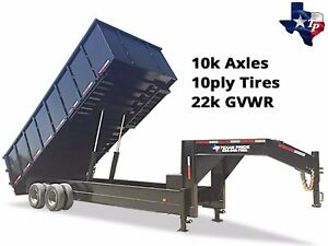 Brand New 8 X 20 Gooseneck Dump Trailer 22k Gvwr With 48 Sides