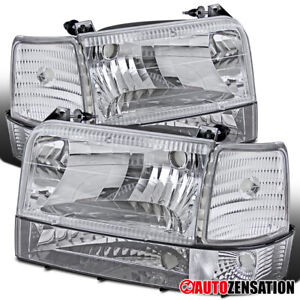 For Ford 92 96 F150 250 350 Bronco Clear Lens Headlights W Corner Bumper Lamps