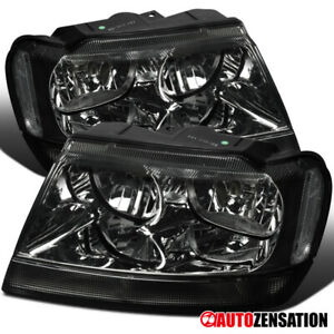 For 1999 2004 Jeep Grand Cherokee Smoke Headlights Signal Lamps Left Right 99 04