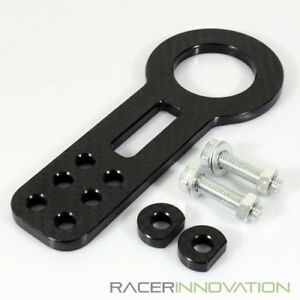 Billet Aluminum Front Towing Hook Kit Jdm Anodized Black Racing Bumper Tow Set