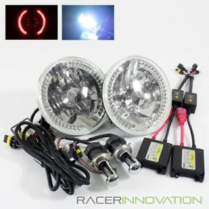8000k Blue White Hi Low Hid 7 Round 6014 6024 Crystal Red Led Ring Headlights