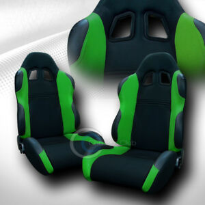 2 Universal Ts Blk green Cloth Leather Reclinable Racing Bucket Seats slider C01