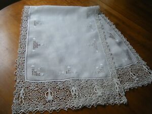 19cantique Reticella Runner Combo Emb Ery Figural Needle Lace H Done Italy