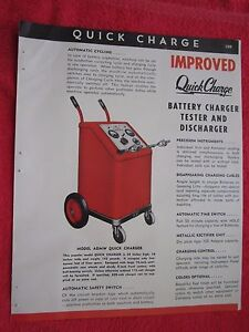1945 Quickcharge Battery Charger Tester Welder Shop Equipment Brochure