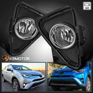 For 2016 2018 Toyota Rav4 Clear Bumper Fog Lights Driving Lamps bulbs switch
