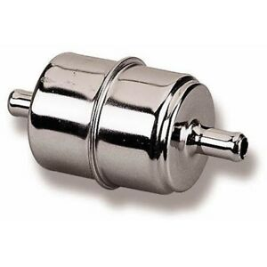 Holley 162 523 Universal Fit Chrome Fuel Filter For 3 8 Inch Fuel Line