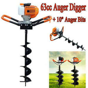 Epa 3hp Two 1 Man 63cc Gas Earth Post Hole Auger Digger Machine W 10 Auger Bit